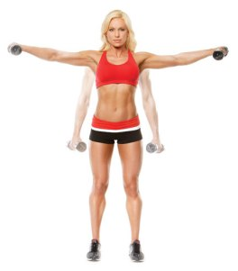 Great image of lateral raise showing start (faded) and lifted position.