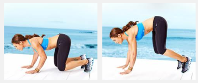 Left: Starting position.                    Right: In the air, hands and feet are BOTH off the floor.